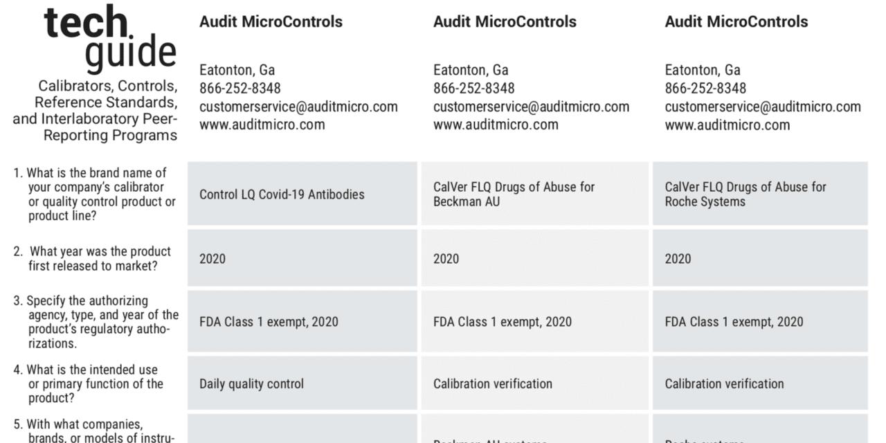 November 2020 Tech Guide: Calibrators and Controls